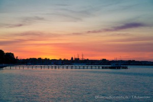 Sonnenuntergang an der Seebar Düsternbrook, Kiel