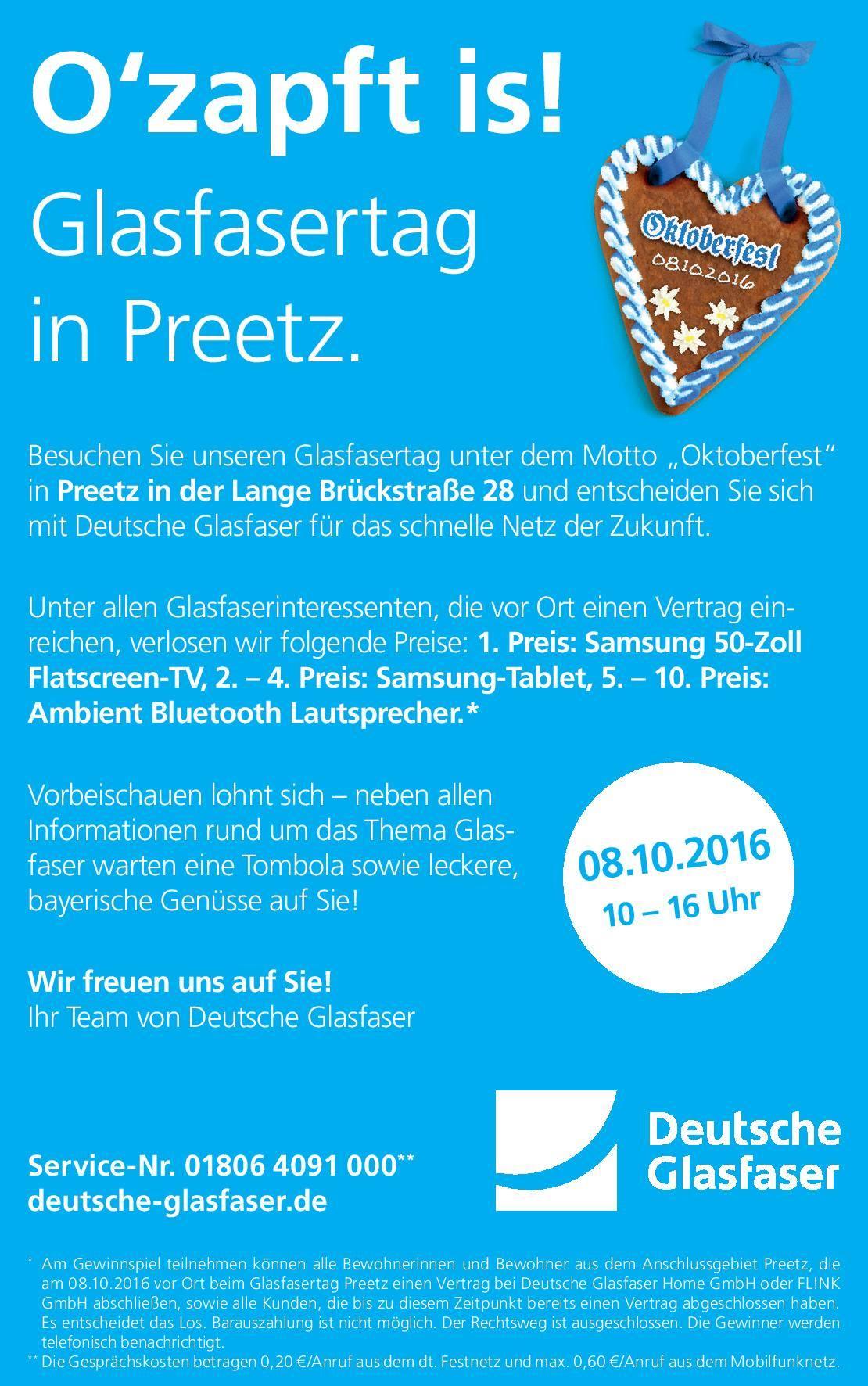 """Am 8. Oktober 2016 gibt es einem Informationstag unter dem Namen """"Glasfasertag in Preetz"""" in der Lange Brückstraße 28."""