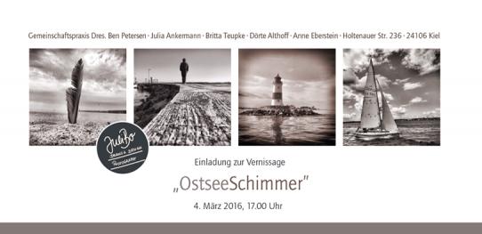 Bilder von der Vernissage am 4. März in der Gemeinschaftspraxis Holtenauer Strasse 236 von der Künstlerin – JuliBo · Fotografie & Malerei – OstseeSchimmer